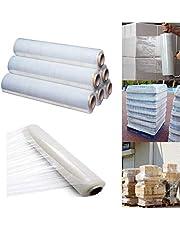 Rollos de film transparente elástico para paquetes postales 400mm x 250m, Pack of 6, Claro/transparente, 6