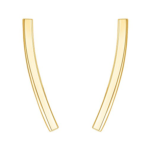 PAVOI 14K Yellow Gold Plated Sterling Silver Post Crawler Earrings Cuff Studs