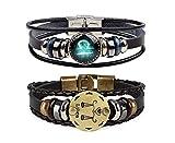 Retro 2pcs Libra Zodiac Bracelet for men Couple Gifts 12 Constellation Beaded Hand Woven Leather Bracelets Braided Punk Chain Cuff(Libra)