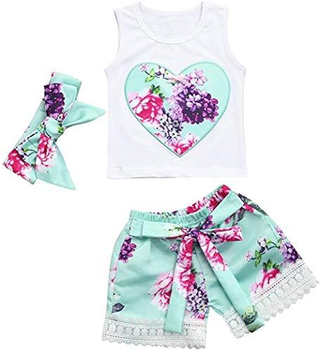 Jacket Juego de ropa para niñas, 3 piezas de ropa floral para bebés y niños de 0 a 3 años (color: blanco, tamaño: 2 a 3 años)