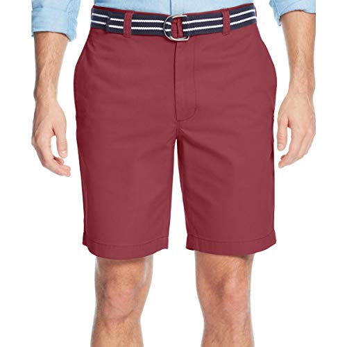 Club Room Mens Flat Front with Belt Casual Chino Shorts, Pink, 38