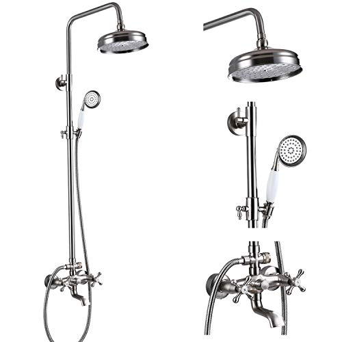 Brushed Nickel Bathtub Shower Faucet System 8-inch Rainfall Showerhead with Handheld Spray Dual Cross Knobs Handles Wall Mounted Triple Function Shower Unit