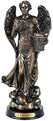 Pacific Giftware St. Barachiel Archangel Blessings from God Figurine 8 Inch Tall Wooden Base with Brass Name Plate