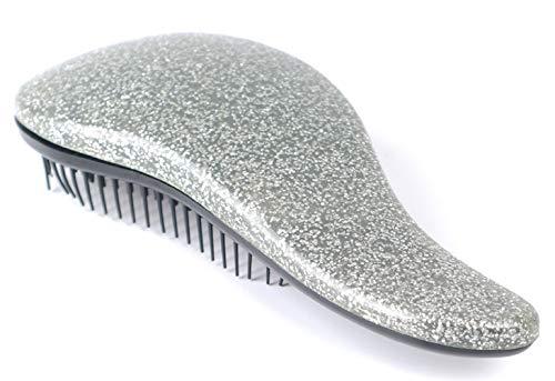 Brosse à cheveux - démêlant - enchevêtrement - mode - idée cadeau - voyage - portable - couleur argent glitter