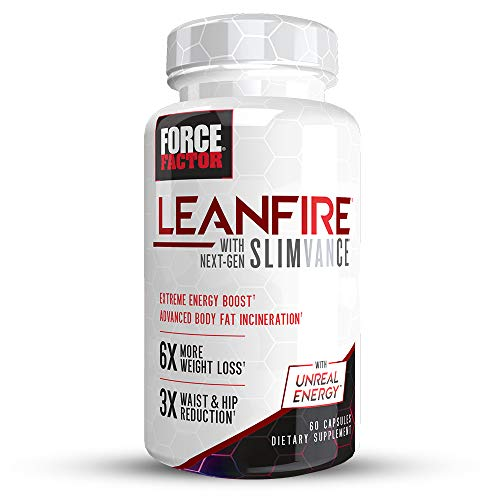LeanFire with Next-Gen SLIMVANCE Advanced Thermogenic Fat Burner for Weight Loss with B Vitamins and Capsimax to Boost Metabolism, Increase Energy, and Enhance Focus, Force Factor, 60 Capsules