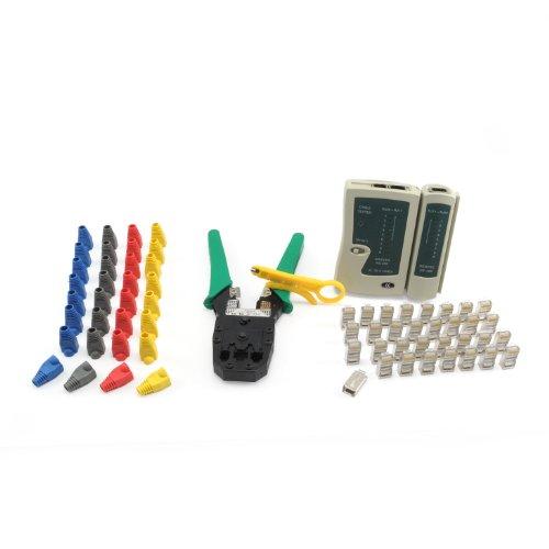 Incutex Netzwerk Werkzeug Set 66tlg. Crimpzange Kabeltester Netzwerkstecker Kunststoffhülsen Kabelschneider LAN