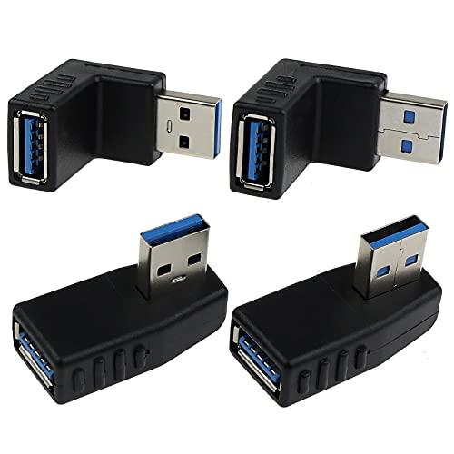 4 adaptadores USB 3.0 de 90 grados macho a hembra, conector de enchufe de alta velocidad izquierda y alto bajo y ángulo derecho para ordenador U disco ratón y más.