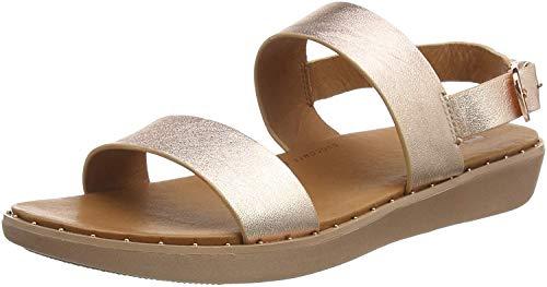 Fitflop Stud Barra Sandal-Leather, Bout Ouvert Femme, Rose (Rose Gold 323), 39 EU