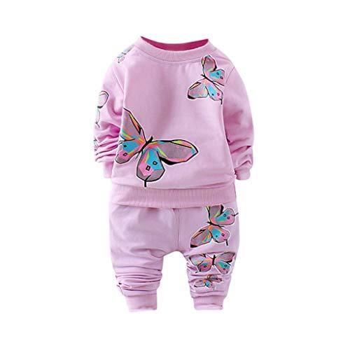 MRULIC Kleinkind Baby Jungen und Mädchen Insgesamt Langarm T-Shirt und Hose Trainingsanzug Bekleidungsset Outfits Schlafanzug mit Schmetterlingsdruck(Violett,70-80cm/S)