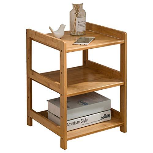 Mesa de centro de bambú auxiliar moderna de 2 niveles con estante de almacenamiento, mesa de café pequeña, mesita de noche, mesa de noche, mesa auxiliar de fácil montaje, sala de estar (tamaño: 35 cm)