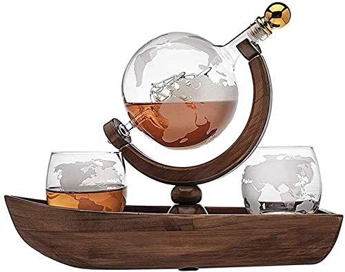 - Whisky Decanter Whiskey Decanter, Globo de Barco con 2 Gafas de Whisky Mundial, Hermosa Botella de Vino Artesanal, Amistad