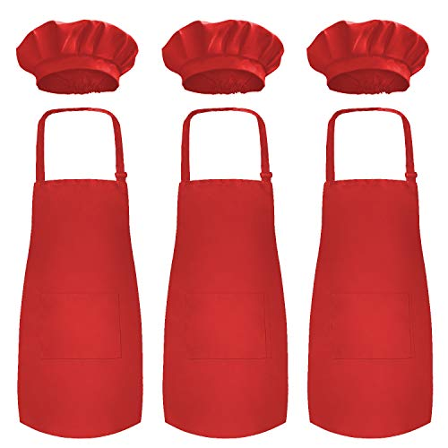 Novelty Place Kid's Apron with Chef Hat Set (3 Set) - Children's Bib with Pocket Skin-Friendly Fabrics - Cooking, Baking, Painting, Training Wear - Kid's Size (6-12 Year, Red)