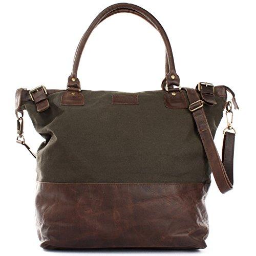LECONI XL Shopper für Damen kleiner Weekender Beuteltasche große Frauen Schultertasche Wickeltasche Umhängetasche aus Canvas & Leder 50x41x20cm grün LE2005-C