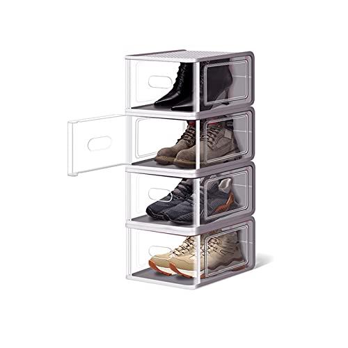 Zapatero pequeño Cajas de almacenamiento de zapatos transparentes (4 Pack) Organizadores de almacenamiento de zapatos apilables Guardar espacio Plastic Shoe Rack Standing Storage Organizador Hall de e