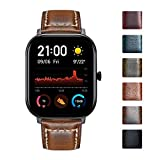 BINLUN Watch Bands Compatible with Amazfit Bip/GTS/GTR 42mm 47mm/Amazfit Pace/Stratos Smartwatch Vintage Oil Wax Calfskin Leather Straps Replacement 20mm 22mm Wristband Bracelet for Men Woman