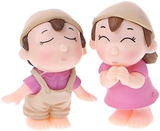 Kofun 1 par de Figuras en Miniatura para Amante de la Huella de Jardín con Diseño de Pareja Sonriente, Resina, Rosa, 4 cm