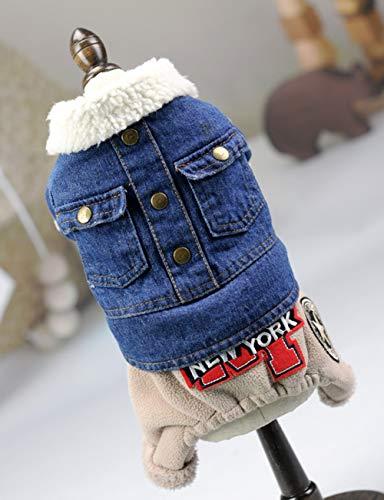Hundeschwere Jeansjacke Mit Langen Ärmeln, Warme Winddichte Oberbekleidung Aus Polyestergewebe Und Dicker Baumwolle Für Kleine, Große Hunde, XTM155,XS