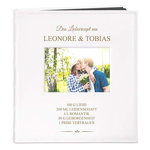 Murrano Fotoalbum zum Selbstgestalten mit Bildausschnitt + mit Gravur - für 240 Fotos im Format 10x15-60 Schwarze Seiten - Größe 33x30cm - Weiß - Geschenk zur Hochzeit zum Hochzeitstag - Liebesrezept