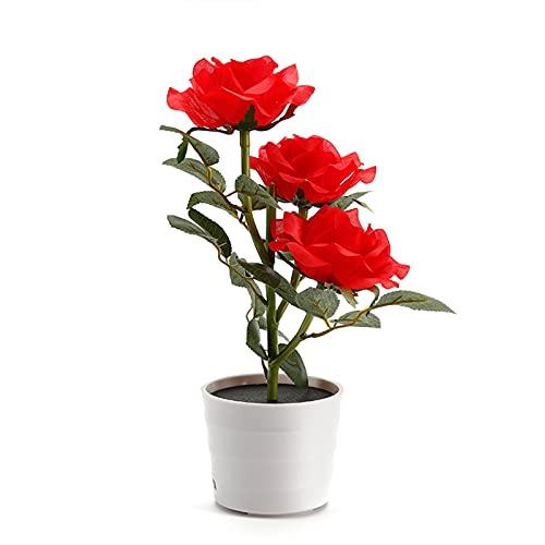 KHBNHJ Luces solares de rosas, maceta de rosas artificiales, bonsái, lámpara LED, luz nocturna con 3 luces, para decoración de hogar, jardín, habitación, oficina, color rojo
