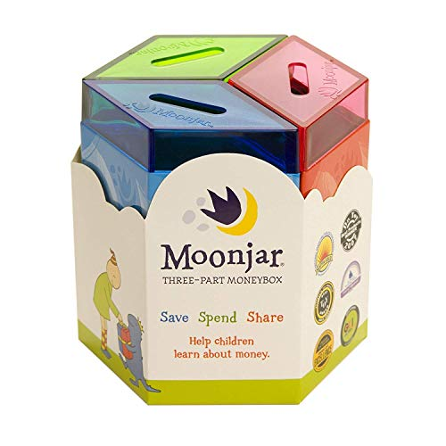 Moonjar Classic Award Winning Save Spend Share Educational Tin Toy Bank with Passbook| Moneybox for Children 3+ Years | Teaches Responsible Money Management & Financial Skills
