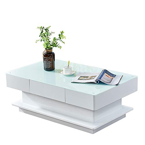 Saadiya Large Glass Coffee Table Modern Rectangle High Gloss Tea Table Side Table End Table with 2 Storage Drawers for Living Room Home Office Reception Room Furniture (White)