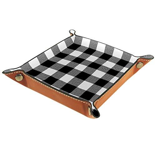 Caja de almacenamiento pequeña, bandeja de valet para hombre,Tela escocesa de búfalo blanco sin costuras ,Organizador de cuero para llaves de caja de monedas