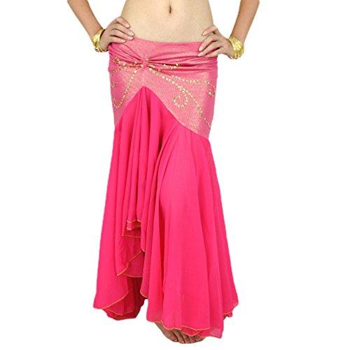 YuanDian Mujer Gasa Falda Larga Cola De Pez De Baile De Vientre Irregular Elegante Profesional Arabian Oriental Belly Dance Tribal Fusion Faldas Trajes Rose