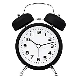 TXL 3.5 Twin Bell Alarm Clock Kids, Battery Operated with Nightlight, Handheld Sized, Non-Ticking Silent Metal Alarm Clocks for Bedrooms,Heavy Sleepers Bedside Analog Loud Alarm Clock,Black