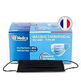KB MEDICA - Masques Chirurgicaux Type 2R IIR - Fabriqués En France - Boîte De 50 Masques Jetables - NOIR - Filtrant À 99%