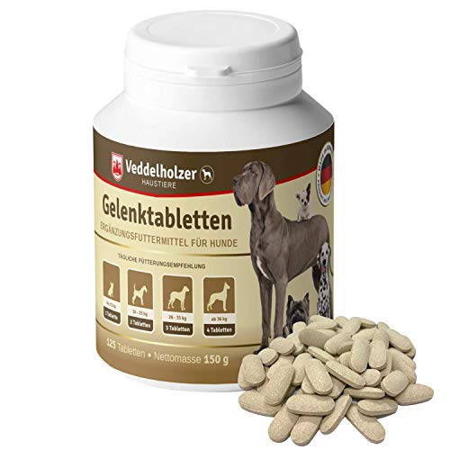 Gelenktabletten für kleine & große Hunde mit Grünlippmuschel MSM Teufelskralle Glucosamin & Kollagen zur Stärkung von Gelenken Knochen & Knorpel aus Deutschland 125 Kapseln Leckerlis Hyaluron & Omega3
