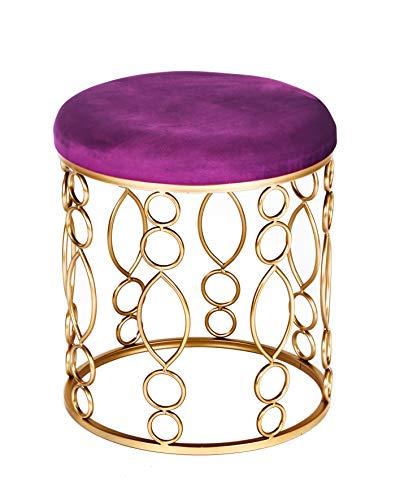 ts-ideen Polsterhocker Purpur Lila Metallgestell Rund Schemel mit Gepolsterter Sitzfläche Stuhl 46,5 x 40 x 40 cm