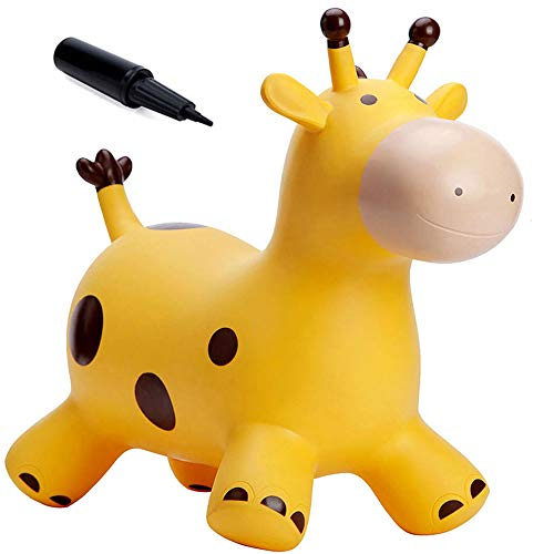 Babe Fairy Giraffe Bouncy Horse Hopper for Toddlers-Jumping Horse Bouncy Buddies-Inflatable Bouncy Animals Hopping Toys with Pump-Gift for Boys and Girl