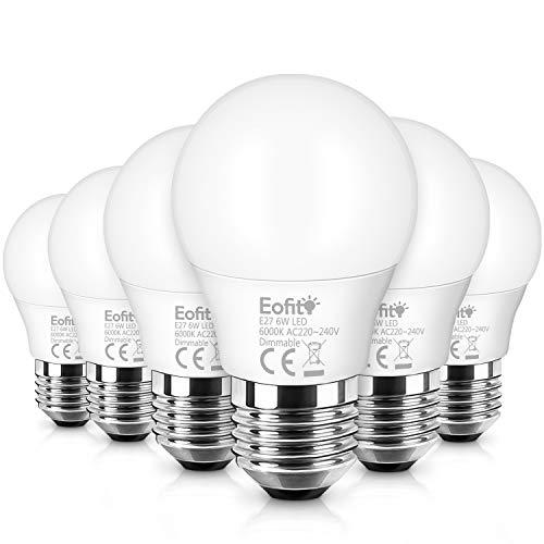 6W Dimmable E27 LED, Eofiti Ampoule E27 LED Dimmable Blanc Froid 6000K Équivalent à 50W Halogène Ampoule Maïs E27 220V Edison LED E27 Lumière 600LM Avec Large Angle de Faisceau 360° Lot de 6