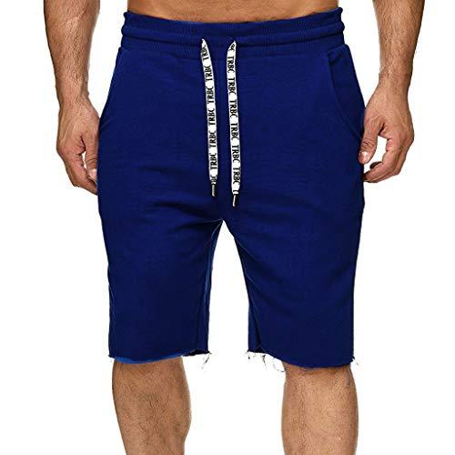 Zarupeng heren zomer vrijetijdsshorts elastische band sweatshort sportshort met koord eenkleurig training jogging fitnesshorts