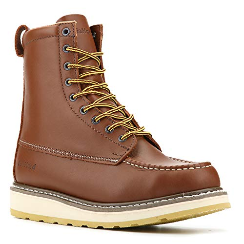 """DieHard SureTrack Mens Moc Toe Work Boots, 8"""" Full Grain Leather Soft Toe Lace Up Casual Boots (86994 Wide US 10.5)"""