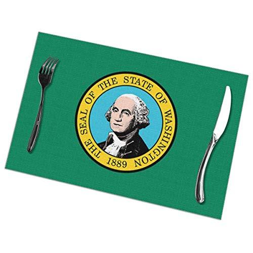 NCH UWDF Washington - Juego de 6 manteles Individuales para decoración de Comedor, manteles Individuales Resistentes al Calor, Mantel Lavable Antideslizante de 12 x 18 Pulgadas