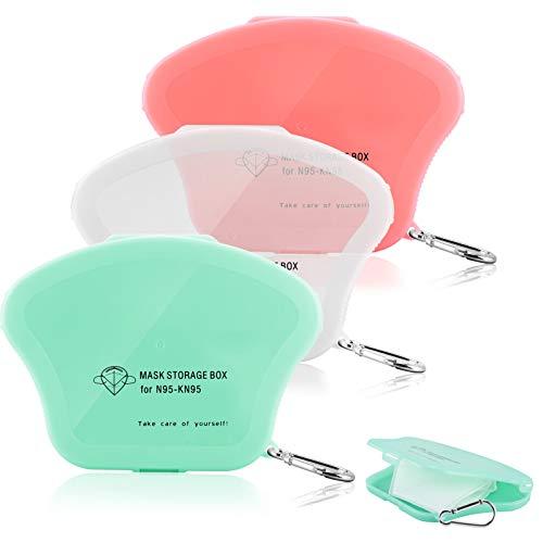 YIRSUR 3 Stück Maskenbox, Masken Aufbewahrungsbox Tragbare Kunststoffbox für Staubmasken, Wasserdicht, Staubdicht, mit Schlüsselbund für Outdoor Reise (3PCS)