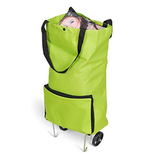 SDFLKAE Trolley pieghevole per la spesa, con ruote, borsa per la spesa portatile, pieghevole, colore: verde
