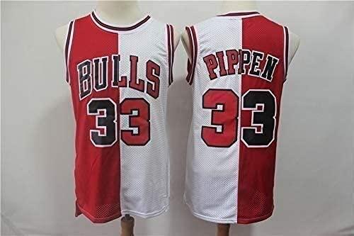 XUECHEN Ropa Uniformes de Baloncesto para Hombres, Chicago Bulls # 33 Scottie Pippen NBA Tops Sueltos Secado rápido Chalecos Deportivos sin Mangas Camisetas de Baloncesto Retro, Rojo, XXL (185~190cm)