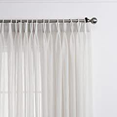 FABRIC: Sheer curtains have a linen texture, allow natural light in while provide enough privacy. TOP CONSTRUCTION: Double pleated sheer panel, hooks including in the package, good for track and pole which has eyelet rings. SIZE AND FULLNESS: Sold as...