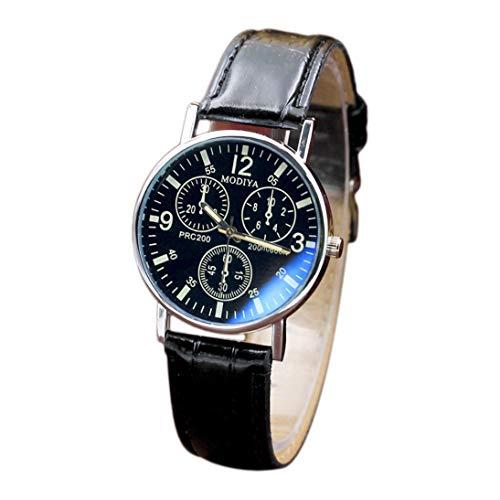 Moda para Hombre Reloj de Pulsera de Acero Inoxidable Correa de Reloj Pulsera de Cuero Redonda Relojes para Hombre Reloj de Cuarzo Reloj de Cuarzo - Negro y Negro