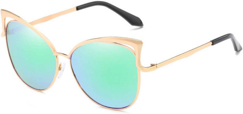 GCCI Sommer Mode Sonnenbrillen Cat Eye Sonnenbrille Frauen Double Beam Spiegel Mnner Sonnenbrille für Frauen Sun Style Persnlichkeit,6-BlauGrün,