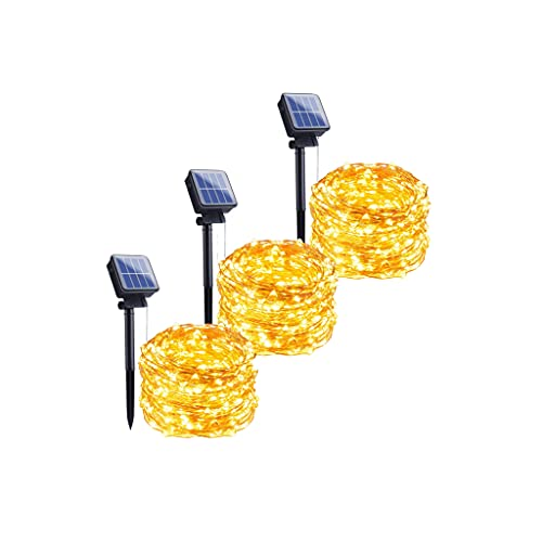 Paquete de 3 luces solares al aire libre 33 pies,100 LED de hadas con 8 modos de iluminación,decoración impermeable, luces de alambre de cobre para patio,árboles,Navidad,fiesta de boda (blanco cálido)