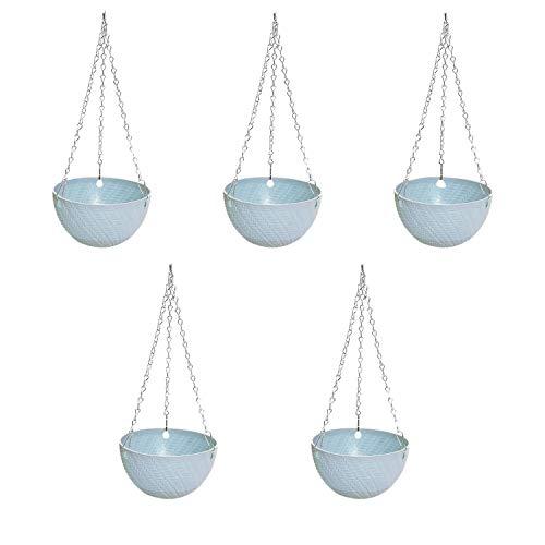 wivarra 5Pcs Round Plastic Hanging Basket Flower Pot 16X10cm Garden Plant Chain Planter Decoration(Blue)
