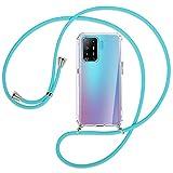 mtb more energy® Collar Smartphone para OPPO A94 (4G/LTE), OPPO F19 Pro (6.43'') - Turquesa - Funda Protectora ponible - Carcasa Anti Shock con Cuerda Correa