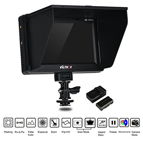 "VILTROX DC-70 II 4K HDMI Field Monitor 7"" TFT LCD HD Video Monitor HDMI AV Input 1024 600 for DSLR Camera Canon Nikon + Rechargeable NP-F550 Battery + Charger"