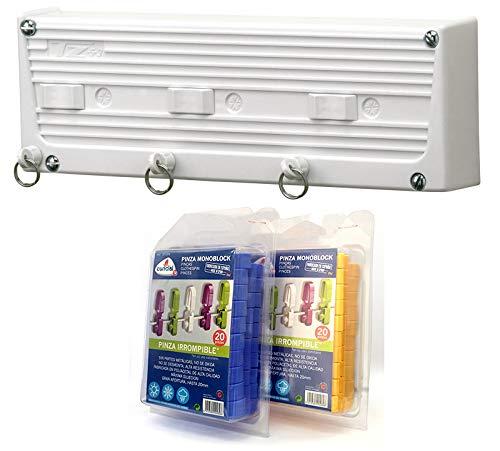 Bricolemar Tendedero Automático Cuncial de 3 Cuerdas Independientes en Pack Cuncial (Incluye 40 Pinzas Monoblock + Accesorios Fijación + Plantilla de Montaje)