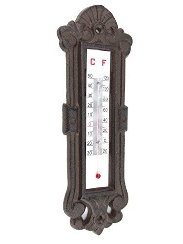 Crispe home & garden Verziertes Thermometer aus Gusseisen, frost- und wetterfest