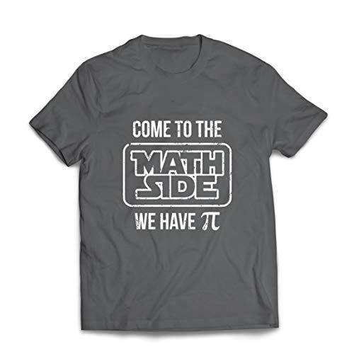 lepni.me Camisetas Hombre Ven a Las Matemáticas Lado Pi Divertido Geek Humor Nerd Broma (XXX-Large Grafito Multicolor)