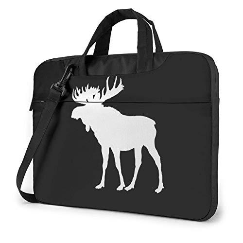Moose Silhouette Pattern Laptop Shoulder Messenger Bag, Notebook Sleeve Carrying Case